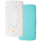 LBL02-C15-CL2P-Little-by-Little-Organic-Cotton-Crib-Sheet-Cloud2Pk